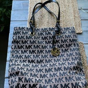Grey and black MK print Michael Kors tote